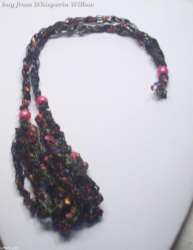 Crocheted Trellis Ladder Ribbon Necklace 33