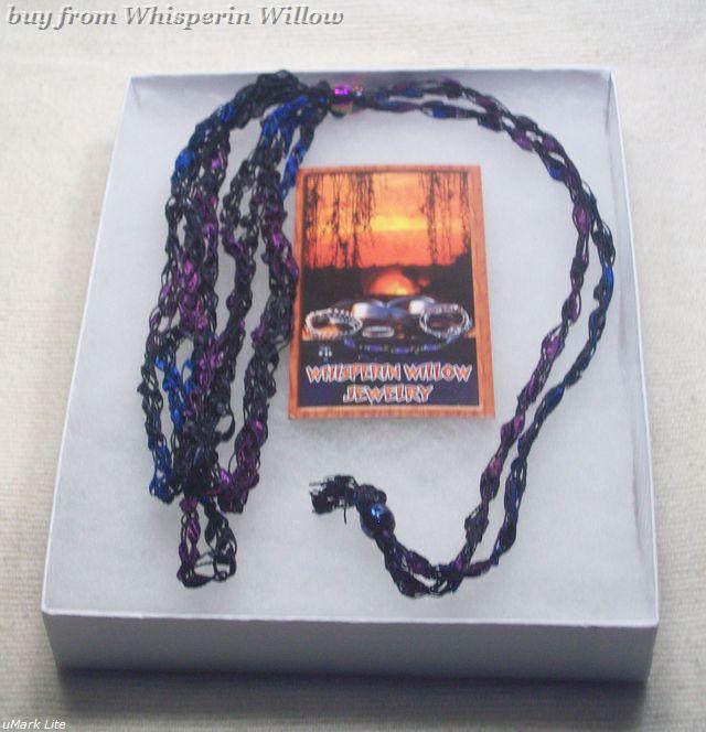 Crocheted Trellis Ladder Ribbon Necklace 34