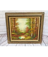 "Antique original oil painting signed Franz Weber "" light and forest "" - $120.00"