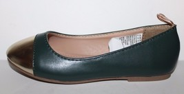 Gap Kids NWOB Girls Green Faux Leather Ballet Flats w/ Gold Toe image 2