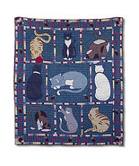 50x60 Patch Quilt Kitty Cats Feline Blue Throw ... - $115.00