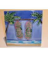 Art Glass Tile, Ocean, Flip Flops, Two Palm Trees, 4x4, New - $9.75