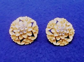 Vintage  Floral / Flower Bouquet Earrings - Rhinestones - Celluloid - 19... - $12.50
