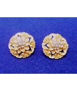 Vintage  Floral / Flower Bouquet Earrings - Rhinestones - Celluloid - 19... - $12.50