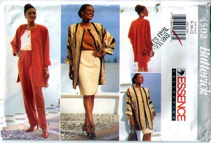 1996 JACKET SKIRT PANTS Pattern 4502-b UNCUT Sz 8-10-12 - UNCUT