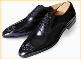 Handmade men black brogue Tuxedo shoes, Men black formal shoes, Mens dress shoes - $169.99