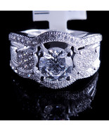 Ladies 14K White Gold Fn Lab Diamond Solitaire Engagement Ring Band Roun... - $49.99