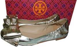 Tory Burch Gold Leather Divine Bow Driver Ballet Spark Women's Flats Bal... - $159.00