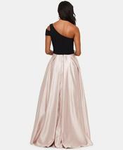 Betsy & Adam One-Shoulder Satin Ballgown Black/Beige Size 6 $259 image 2