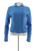 H Halston French Terry Motorcycle Jacket Ribbed Zipper Rain Blue 12 NEW ... - $30.67