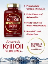 Antarctic Krill Oil 2000 mg 120 Softgels | Omega-3 EPA, DHA, with Astaxanthin - $39.50
