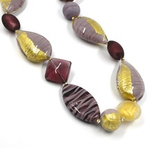 NECKLACE PURPLE SPHERE OVAL DISC DROP SQUARE MURANO GLASS GOLD LEAF, MADE ITALY image 2