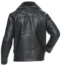 Mens Brando Aviator Fur Collar Army Black Biker Leather Jacket image 2