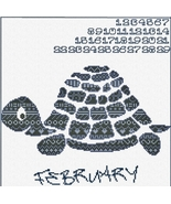 Animal Calendar: February Turtle cross stitch chart Alessandra Adelaide AAN - $13.50