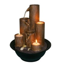 Tabletop Water Fountain Fall Feature Electric 3 Tier Candle Stand Indoor... - $94.99