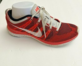 Nike Womens Flyknit One Running Shoes Red 554888-611 Low Top Lace Up Mesh 8 - $39.19