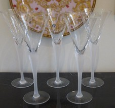 """RARE MIKASA CRYSTAL """"PRISMA"""" CLEAR FROST STEM WATER GOBLETS 9 7/8"""" H SET... - $140.00"""