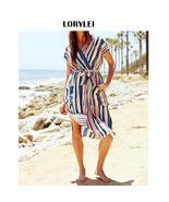 Modest Multicolor Striped Side Split Beach Wrap Dress Long Tunics Women ... - $24.95
