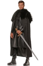 Underwraps Renaissance Cape Cloak Fur Black Adult Mens Halloween Costume... - $30.95