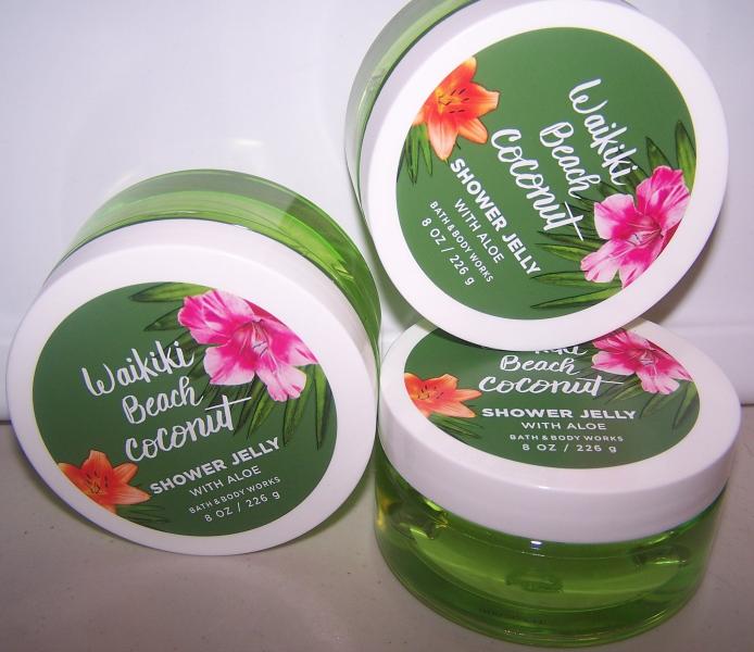 3 Bath & Body Works Waikiki Beach Coconut Shower Jelly with Aloe 8  oz each