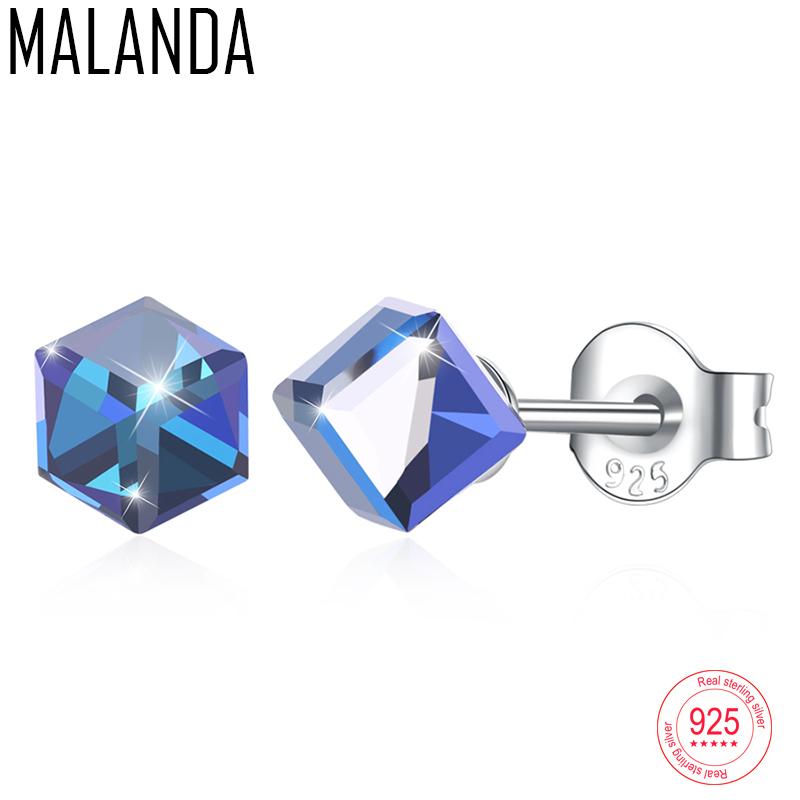 MALANDA Square Crystal From Swarovski Sterling Silver Earrings Fashion Piercing