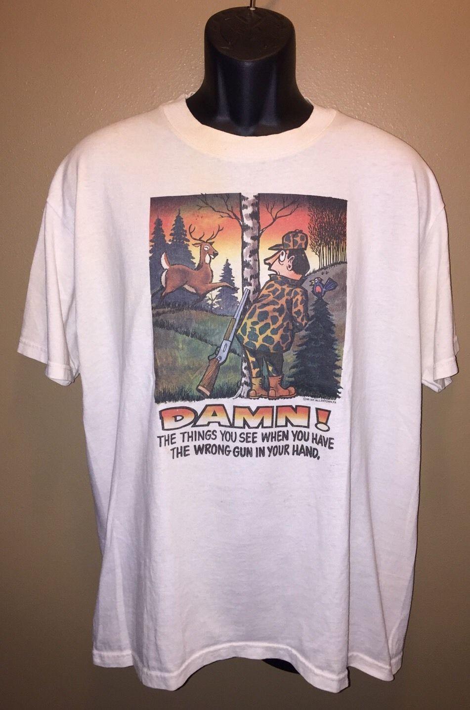 VTG 90s Funny T-Shirt DAMN! Wrong Gun In and 50 similar items