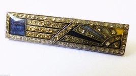 Art Deco Pattern  Silver Tone Metal Crystal Pin Brooch Bar - $30.89