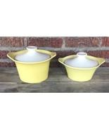 2 Vintage Mid Century Modern Yellow Cream Stoneware Covered Casserole Di... - $46.75