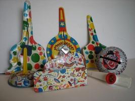 Vintage Lot of 7 Assorted  Tin Noisemakers 1 Plastic Kazoo - $19.80