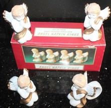 "4 Hand Painted Porcelain 3.5""H Angel Christmas Napkin Ring Holders New w... - $31.49"