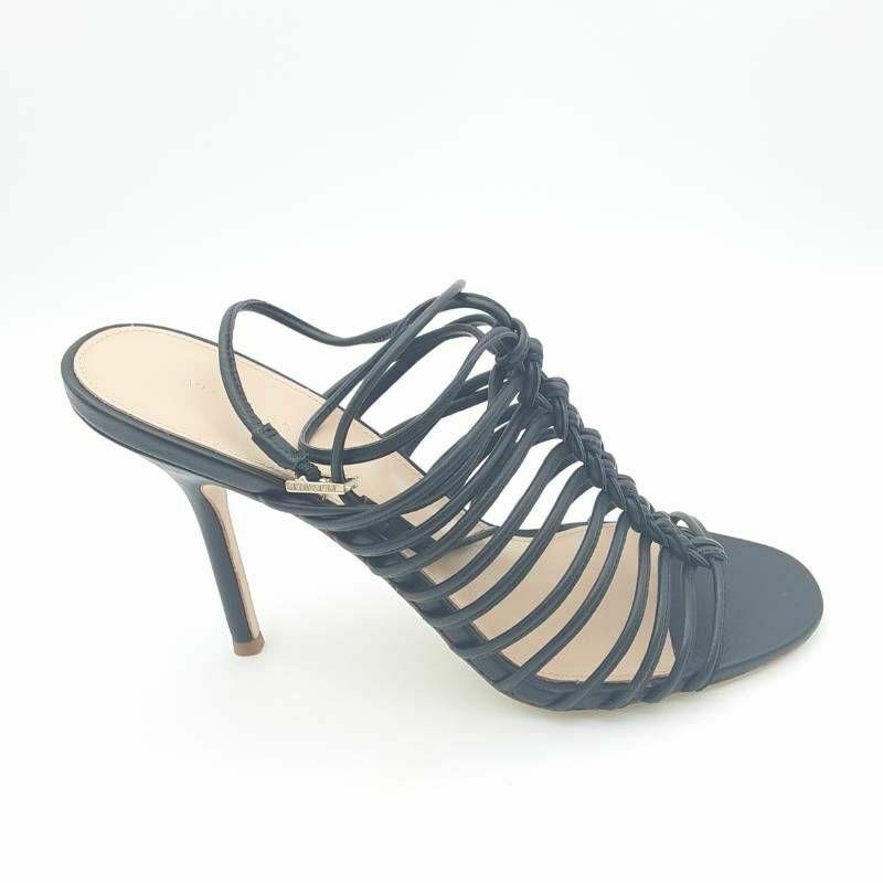 Via Spiga Womens V Paula City Sandals Black Buckle Stiletto Heels 8.5 M New - $59.36