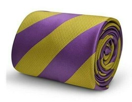 Frederick Thomas Designer Mens Tie - Purple & Pale Olive Green Repp Club... - $15.79