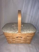 Longaberger 2002 Natural Spring Basket Combo Consultant Signed Fabric Wood Lid - $46.74