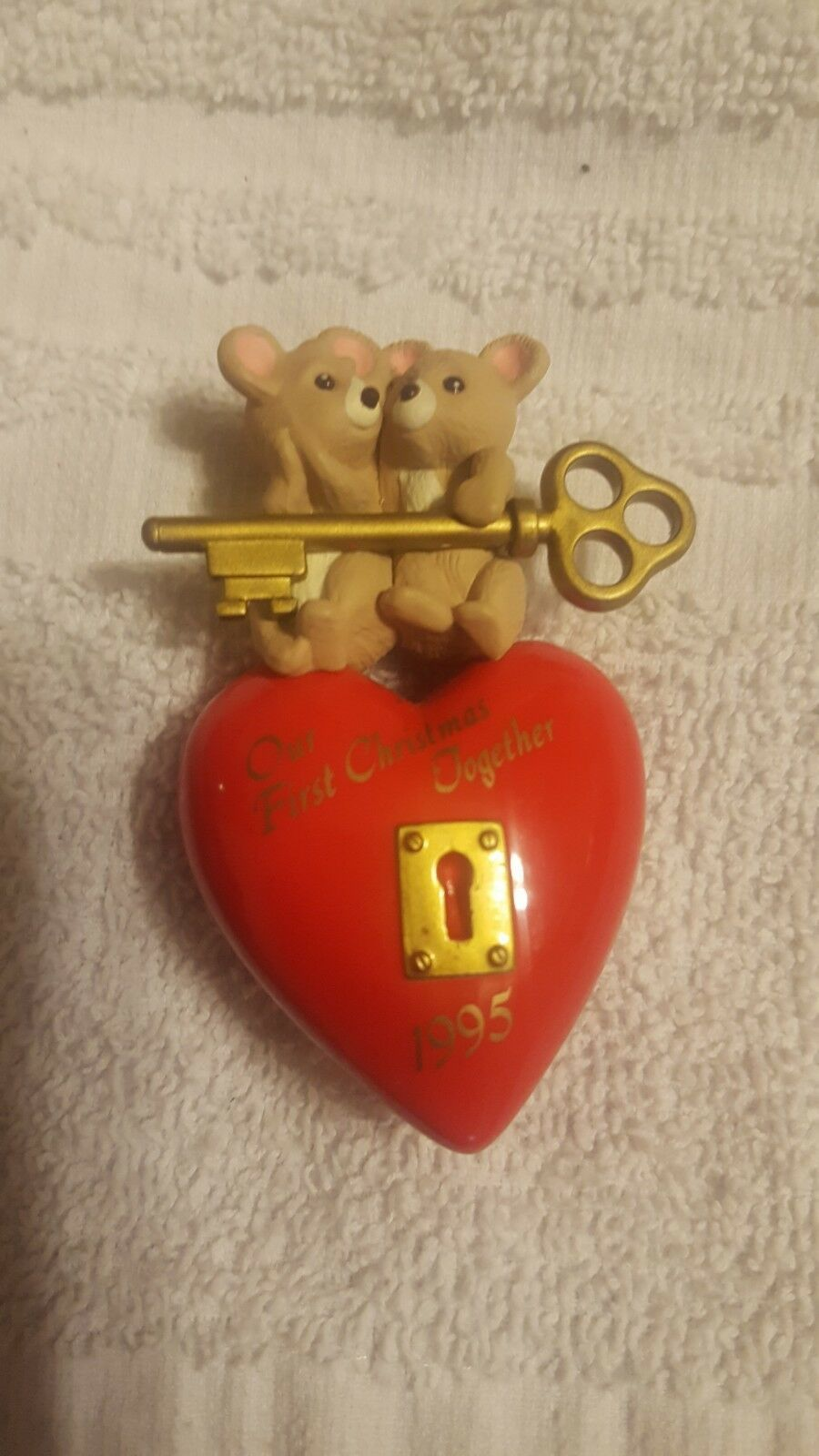 "1995 Hallmark Keepsake Ornament ""Our First Christmas Together"" Heart and Key image 1"
