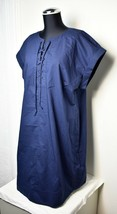 J Crew Navy Blue Lace-Up Rolled Sleeves Cotton Shirt Dress - Women's XL - $30.36