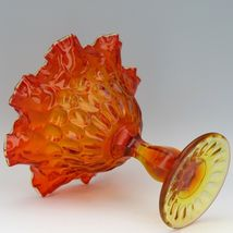 "Vintage Fenton Art Glass OR Orange Amberina Thumbprint LARGE Comport 7 1/2"" X 8"" image 3"
