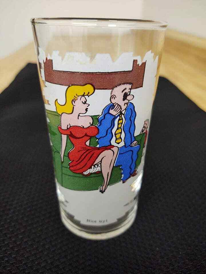 Vintage Federal glass funny paper graphics juice glass - $9.50