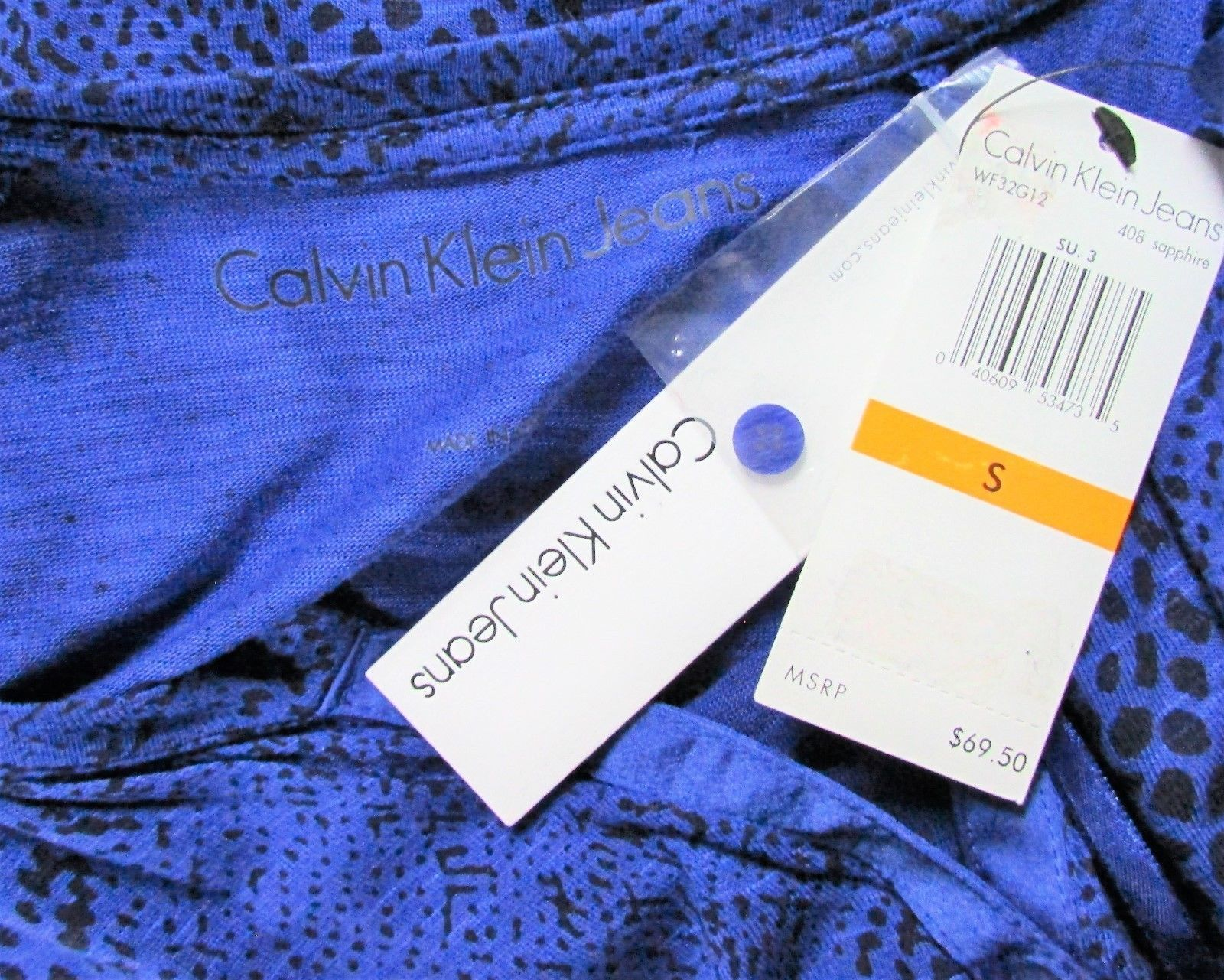 Calvin Klein Blue and Black Animal Print Shirt Shif Dress NWT Sz S,M  MSRP: $69.
