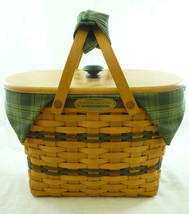 Longaberger Traditions Small Picnic Basket Combo W Liner Protector Lid G... - $69.25
