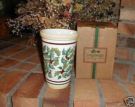 Longaberger Pottery Vase American Holly  New Original Box Vitrified Made... - $36.58