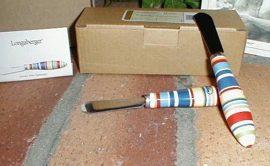 Longaberger Pottery Sunny Day Stripe Set 2 Spreaders Spice Butternut Blue Sage