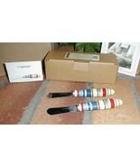 Longaberger Pottery Sunny Day Stripe Set 2 Spreaders Spice Butternut Blu... - $14.46