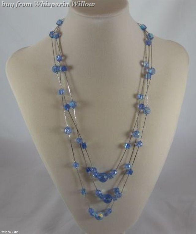 Primary image for 3 Strand Blue Glass and Silver Fashion Necklace