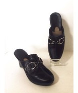 COLE HAAN Wms Black Leather Clogs Shoes Silver ... - $15.67