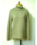 CHICO'S Wms Tan Grey Brown Metallic Turtleneck ... - $11.75