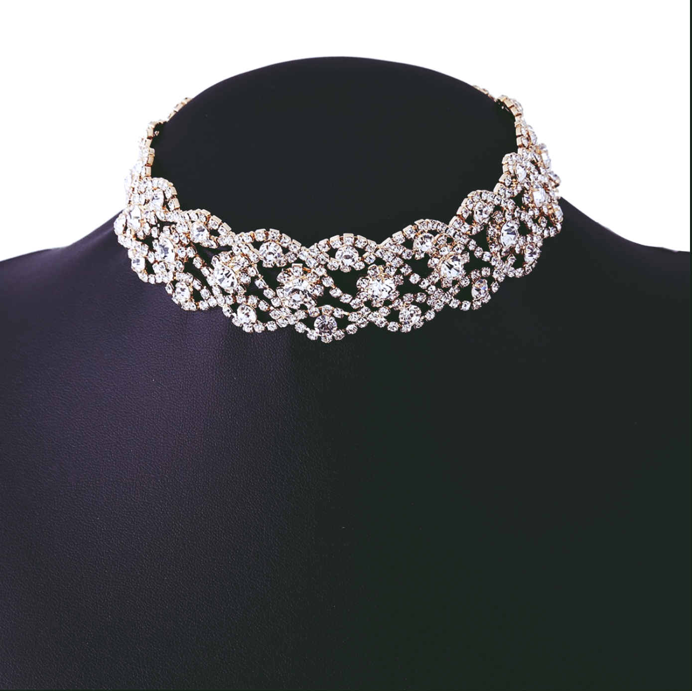WOMEN FLORAL CRYSTAL NECKLACE SILVER GOLD SPARKLING FASHION PARTY BRIDAL JEWELRY