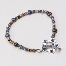 "7"", Vtg Handmade Bead Bracelet, Gf Beads W/ Black Pearl W/ Flower Toggle... - $9.50"