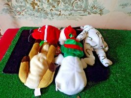 4 TY Beanie Babies Christmas/holiday-Santa/Snowman/Reindeer/bear with tags image 4