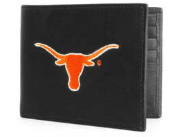 TEXAS LONGHORNS NCAA SPORTS BLACK EMBROIDERED OR PEWTER LOGO BILLFOLD WA... - €21,29 EUR