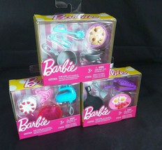 Nib Barbie Cooking Accessories 3 Mixer Pans Cake Pasta Breakfast Doll Cookware - $15.43